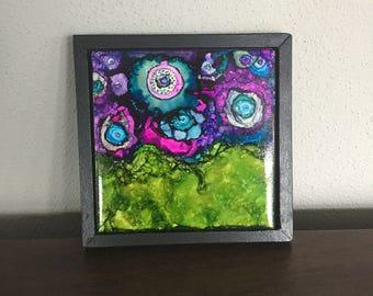 alcohol ink tile in frame