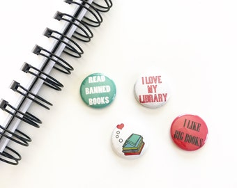 I love my library buttons. I love books buttons. Pinback buttons. Book Lover Pins. Library magnets. Small backpack pins.