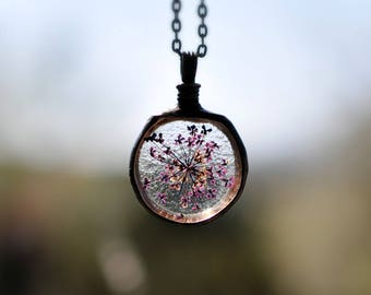 flower blossmom, bridal jewellery, botanical, real plant jewelry, bridesmaid necklace, queen anne's lace, statement pendant, purple necklace