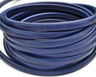 Deep Royal Blue Licorice Leather 10mm x 6mm - Thick Leather Cord - 1M/39.4""