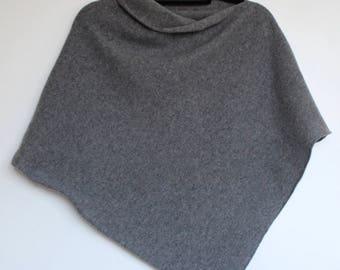 Poncho Soft Merino Lambswool Uniform Grey