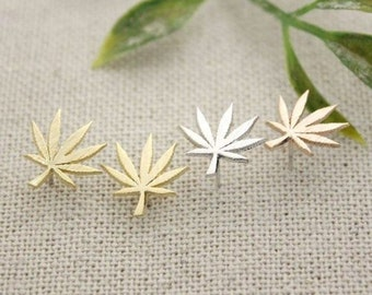 Sterling Silver Maple Weed Pot Leaf Stud Earrings