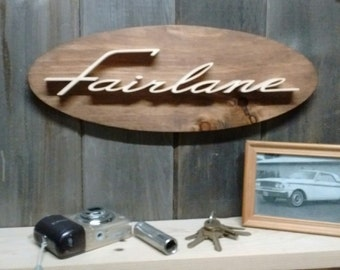 Ford Fairlane Emblem Oval Wall Plaque-Unique scroll saw automotive art created from wood for your garage, shop or man cave.