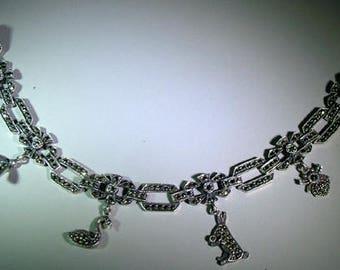 Judith Jack Sterling Marcasite Charm Bracelet