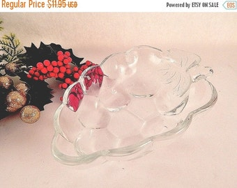 Grape Cluster Dish Clear Pressed Glass Bowl Vintage 1980's Serving Bowl by Studio Nova Dresser Top Candy Nut Condiment Sauce Dish