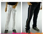 Sale 20% Off BJD MSD 1/4 Doll Clothing - Rainbow Stiched Boot Cut Pants - 2 Colors to Choose