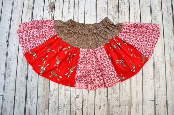 Sock Monkey Tiles Twirl Skirt 2/3