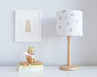 20cm Bunny Lampshade, Rabbits and Roses, Children's Lamp shade, Nursery Accessory, Baby lamp, Kids shade, Nursery light, Handmade lampshade