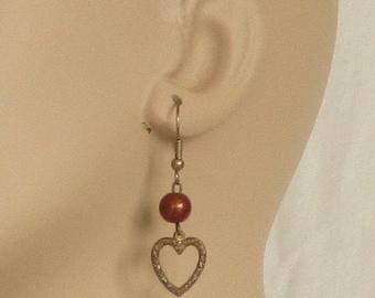 Earrings, pierced, hearts, open hearts, embossed, goldstone bead, bronze, C, jewelry