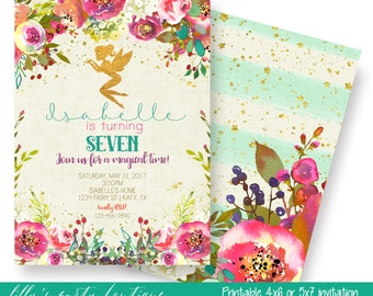 Fairy Birthday Invitation, Floral Fairy Birthday Invitation, Fairy Invitation, Fairy Party Invites - YOU PRINT