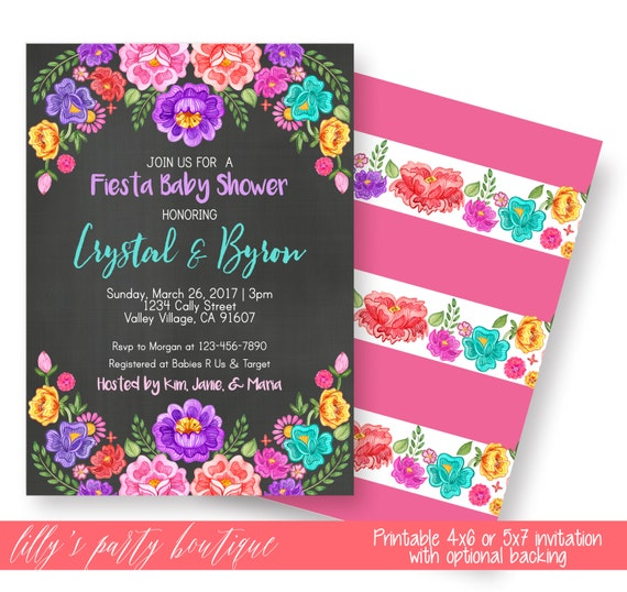Baby Showers In Mexico ~ Fiesta baby shower invitation mexican floral invite