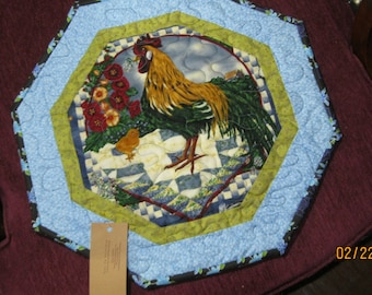 Rooster Hollyhock Table Topper   #2046