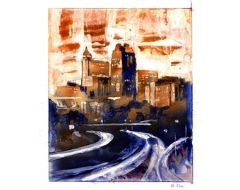 Abstract/semi-representational watercolor of downtown Raleigh, NC skyline. Raleigh art.  Raleigh skyline painting fine art watercolor print