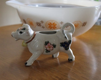 Sweet Made in Japan Floral on White Ceramic Cow Creamer