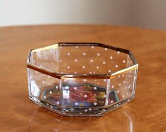 Vintage Mackenzie Childs Discontinued Hand Painted Octagon Aurora Garland Glass Bowl