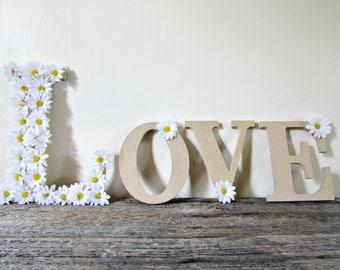 Custom Word Signs- Love Sign Letters- Daisy Home Decor Signs- Floral Letters- Love Sign Wood- Daisy Decorations- Daisy Wedding- Daisy Party