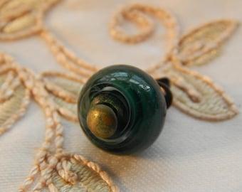 Green Glass with White Swirls Pin Shank Button