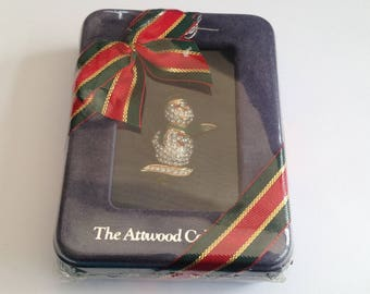 Vintage Attwood And Sawyer GoldPlate, Enamel and Crystal Snowman Brooch In Original Box.