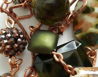 Greens gold and copper colored necklace/brunch/birthday/gift/women/handmade/jesse james beads/mothers/sister/aunt/cousin/daughter/wedding
