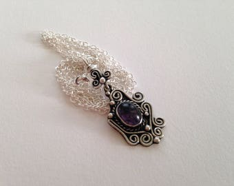 Vintage Amethyst Sterling Silver Upcycled/Recycled Sterling Silver Chain Necklace