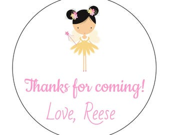 12 Yellow Fairy Stickers, Garden Fairy, Princess Theme, First Birthday, Garden Princess, Fairy Labels, Fairy Theme, Wand, Garden Party