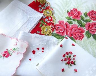 Wedding   Handkerchiefs , Vintage Hankies   ,  Hanky ,  Batiste  Embroidery , Red  Handkerchiefs - set  of 6.