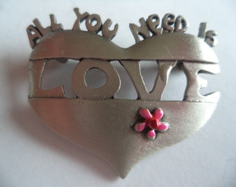 Vintage Signed JJ Small Silver pewter Allyou need is Love Floral Heart Brooch/Pin