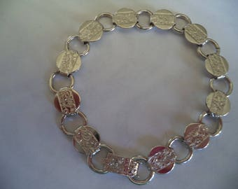 Vintage  Sarah Coventry Silvertone Young and Gay Embossed Bracelet 1970s
