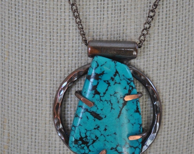 Genuine Turquoise stone and copper pendant necklace, rustic,  metal necklace