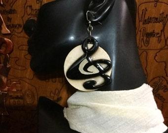 Wide Music Note Earrings