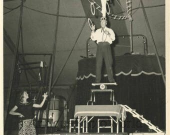 The Waltens circus acrobats rehearsing antique photo
