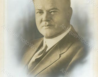 President Herbert Hoover antique retouched art photo