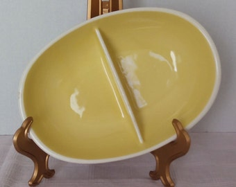 Vintage HARKERWARE Divided Serving Bowl, Yellow & White, 1940s - 1950s, Mid Century, Divided Dish