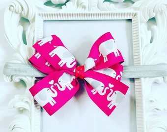 Hot Pink Elephant Hair Bow/Head Band, Girls 4 inch Hot Pink Hairband, Girl's Hair Bow Accessories, Newborn Hairbands, Toddler Hair Bows