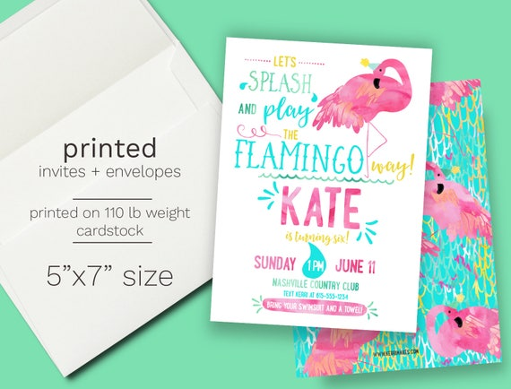 Flamingo Birthday party Invitation PRINTED Summer Birthday Pool