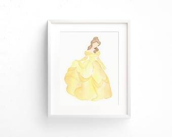 Original watercolor painting of Belle, kids room art, nursery decor, NOT A PRINT!