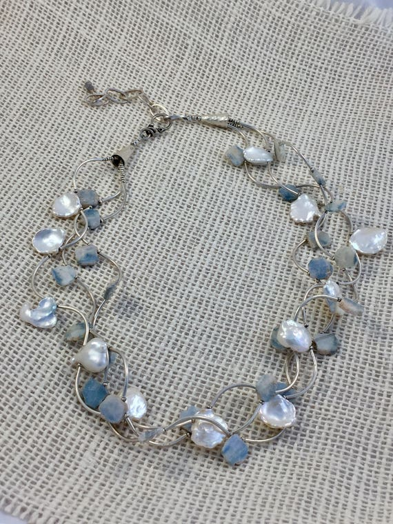 Splash. Silverite , pearls, and fine silver combine in this beachy OOAK necklace by ladeDAH! Jewelry.