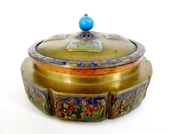 Antique Chinese Snuff Box, Large Enameled Brass Snuff Box,  Round Enameled Lidded Stash or Storage Box