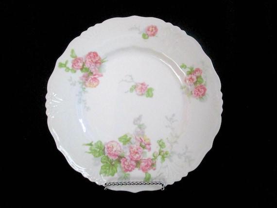 Antique Limoges Luncheon Plates, Jean Pouyat, JPL Limoges, Pink Carnations, Pink Floral Limoges, 8 Avail