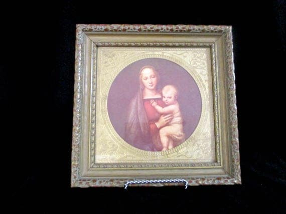 Vintage Religious Picture, Mary and Baby Jesus, Framed, Gold Matting, Religious Gift
