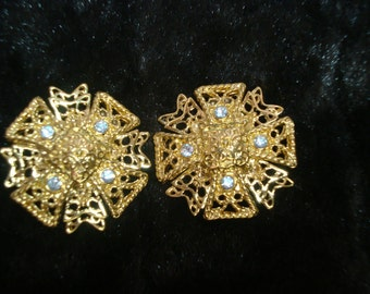 Clip Gold Tone Earrings with Rhinestones signed KJL