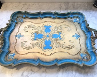 Vintage display blue French tray