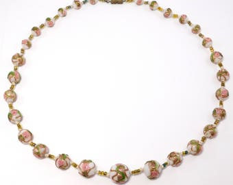 Pretty Italian Wedding Cake Venetian Glass Beads Necklace