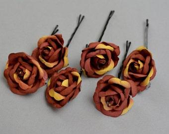 Set of 6 Flower Hair Pins Wedding Hair Bobby Pins Wedding Accessory Bridal Flower Bobby Pins