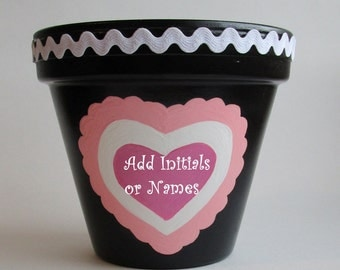 Valentine Personalized Add Name or Initials Painted Pink Heart Planter Black Valentines Day Decor Terra Cotta Flower Pot White Ric Rac Trim