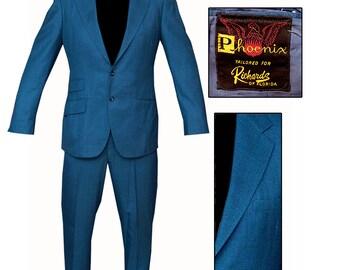 Vintage Petrol Blue Suit / Mod Suit / Rockabilly Suit / MCM Suit / Jazz Suit