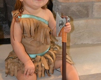 BABY Pocahontas  Dress, Red Cuff, Belt and Bloomer Custom Fit For Your Baby