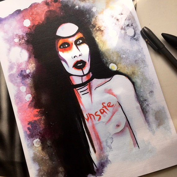 Marilyn Manson Art print Unsafe