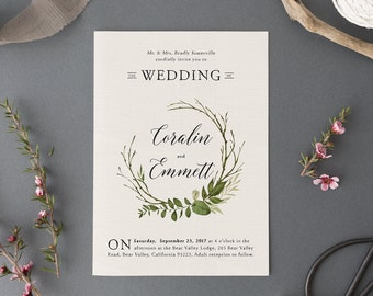 Woodland Watercolor Wedding Invitation Set,Printable Forest Wedding Suite,Nature Wedding,Outdoor Wedding Invites,Green Leaves Garden Wedding