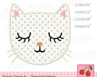 Cat Face Kitty Cat Machine Embroidery Applique Design AN0042 - for 4x4 5x7 6x10 hoop